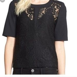 Chelsea28 Lace Front Panel Short Sleeve Top